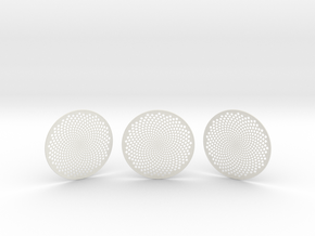 3 Fibonacci Coasters in White Natural Versatile Plastic