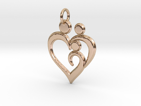 Family of 3 Heart Shaped Pendant in 14k Rose Gold
