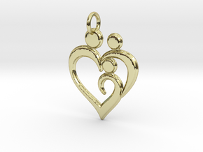 Family of 3 Heart Shaped Pendant in 18K Yellow Gold