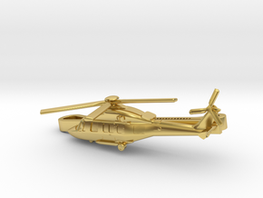 Helicopter tie clip in Polished Brass