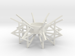 Geometric Candle Holder in White Natural Versatile Plastic