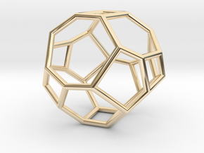 """""""Irregular"""" polyhedron no. 3 in 14k Gold Plated Brass: Small"""