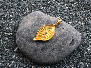 Spiroloculina depressa Pendant in 14k Gold Plated Brass