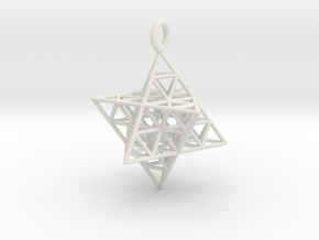 Star Tetrahedron Fractal 35mm in White Natural Versatile Plastic