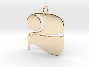 Numerical Digit Two Pendant in 14K Yellow Gold