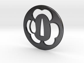 Tsuba katabami mon in Polished and Bronzed Black Steel