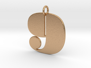 Numerical Digit Nine Pendant in Natural Bronze