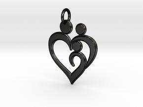 Family of 3 Heart Shaped Pendant in Matte Black Steel