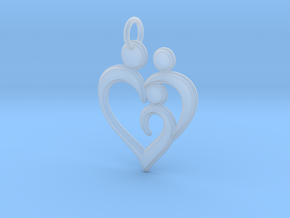 Family of 3 Heart Shaped Pendant in Smoothest Fine Detail Plastic