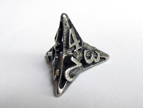 Pinwheel Die4 in Polished Bronzed Silver Steel