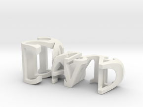 3dWordFlip: David/Sara in White Natural Versatile Plastic