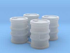 4x Metal Barrels/Drums in Smooth Fine Detail Plastic