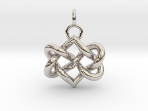 Celtic heart in Rhodium Plated Brass