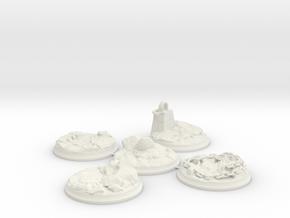 "Set of five 40 mm Bases for my ""Lava World"" series in White Premium Versatile Plastic"