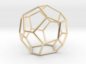 Fullerene with 17 faces, no. 3 in 14k Gold Plated Brass