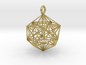 Icosahedron Dodecahedron Nest - 32mm  in Natural Brass