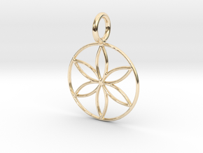 Seed of Life - 6 petalled flower - 22mm 30mm 40mm in 14k Gold Plated Brass: Small