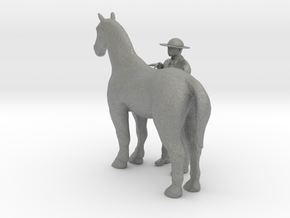 O Scale Man and Horse in Gray Professional Plastic