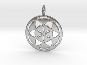 Seed of Life filled 29mm in Natural Silver