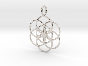 Seed of Life 27mm 33mm 45mm in Rhodium Plated Brass: Small