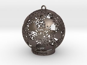 Flower Snowflake Ornament in Polished Bronzed-Silver Steel