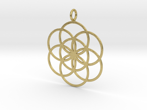 Seed of Life 45mm in Natural Brass