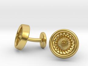 Jet Engine Turbine Cufflinks in Polished Brass
