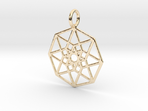 2D Hypercube 29mm in 14k Gold Plated Brass
