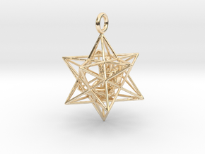 Angel Starship Stellated Dodecahedron 30m in 14k Gold Plated Brass