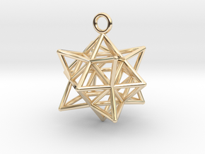 Stellated Cuboctahedron 35mm in 14k Gold Plated Brass