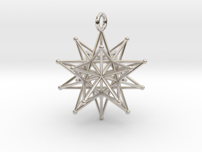 Stellated Icosahedron 27mm diameter in Rhodium Plated Brass