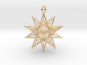 Stellated Icosahedron 27mm diameter in 14k Gold Plated Brass