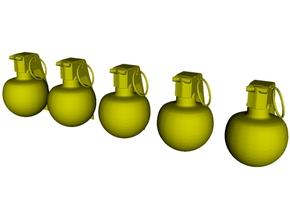 1/16 scale M-67 fragmentation grenades x 5 in Smooth Fine Detail Plastic