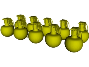 1/16 scale M-67 fragmentation grenades x 10 in Smooth Fine Detail Plastic