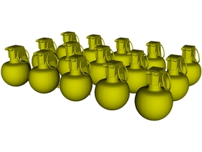 1/20 scale M-67 fragmentation grenades x 15 in Smooth Fine Detail Plastic