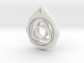 Triquetra Keychain  in White Natural Versatile Plastic