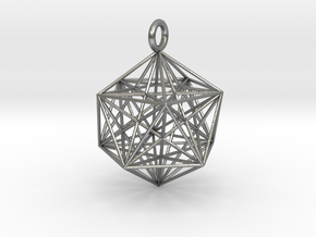Icosahedron with inner Stellated Dodecahedron 30mm in Natural Silver
