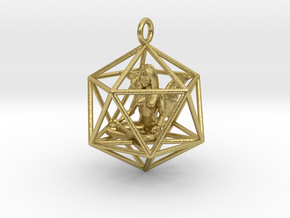 Angel in Icosahedron 35mm in Natural Brass