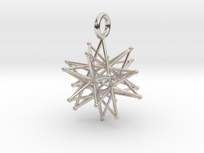 stellated icosa 26mm and 37mm in Rhodium Plated Brass: Medium