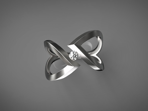 Stagger Heart (without diamond) (Inside diameter 1 in Premium Silver