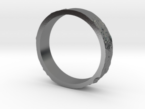 Lunar Landing Site Female (Thin) Moon Ring in Polished Silver: 9.5 / 60.25