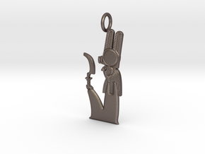 Montu amulet in Polished Bronzed-Silver Steel