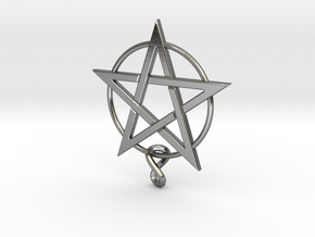 pentagram.Lapis.6.6.6.final in Polished Silver