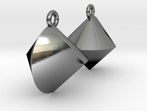 Sphericon Earrings in Polished Silver