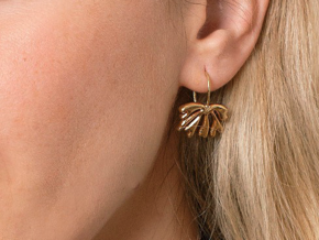 Exotic Leaf Earrings in 14k Rose Gold Plated Brass