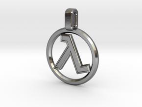 Half-Life - Lambda Pendant in Polished Silver