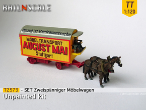 SET Zweispänniger Möbelwagen  (TT 1:120) in Smooth Fine Detail Plastic