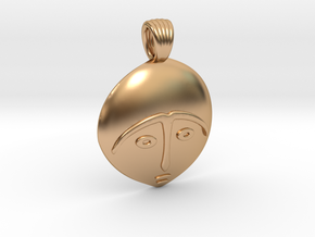 Afro mask [pendant] in Polished Bronze
