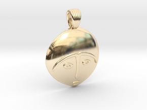Afro mask [pendant] in 14K Yellow Gold
