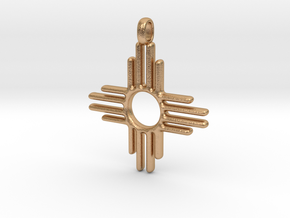 Native Zia Sun Mexico Small Solid Gold 14K Jewelry in Natural Bronze